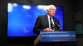Bernie Sanders prepares to speak to supporters in an online video (17 June 2016)