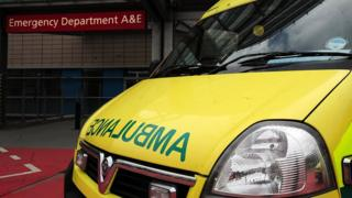 Ambulance arriving at A&E