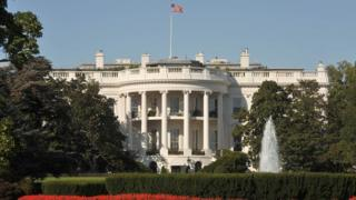 General view (GV) of the exterior of The White House in Washington D.C, 2008