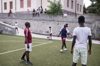 Daily football match on the newly refurbished pitch