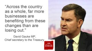 David Gauke saying: Across the country as a whole, far more businesses are benefiting from these changes than are losing out.