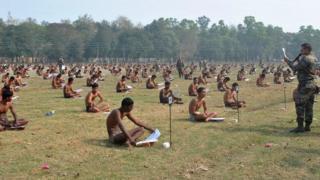 Army aspirants in their underweat