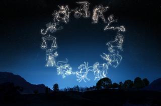 Zodiac symbols in the night sky