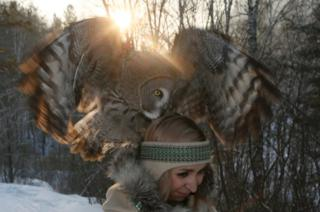 Daria Cherepanova and great grey owl