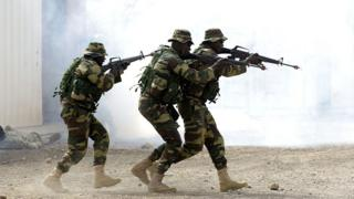 Senegalese troops taking part in a military exercise