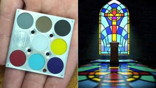 A scaled-down version of the calibration tile, which is inspired by a stained-glass church window