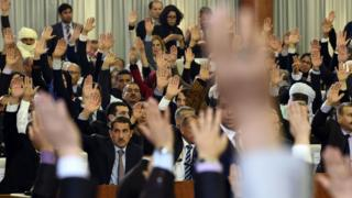 Algerian parliamentarians vote on a package of constitutional reforms on February 7, 2016, in the capital Algiers.