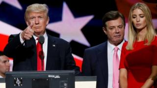 Donald Trump with Paul Manafort and Mr Trump's daughter Ivanka at the Republican National Convention