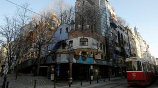 The Hundertwasser House landmark, an apartment house designed by artist and architect Friedensreich Hundertwasser, with the Terrassencafe im Hundertwasserhaus is seen in Vienna