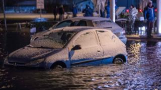 Car submerged in Wismar on the Baltic coast