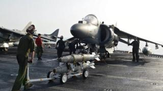 AV-8B Harrier assigned to 13th Marine Expeditionary Unit on deck of USS Boxer in Gulf
