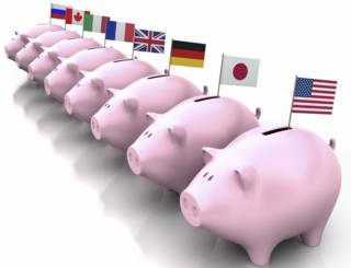 pigs with flags of 8 countries