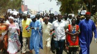 Protesters in Banjul, Gambia, following the death of an opposition figure - April 2016