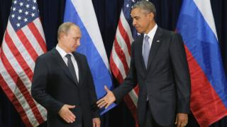 US President Barack Obama (right) and Russian President Vladimir Putin at UN, 28 Sep 15
