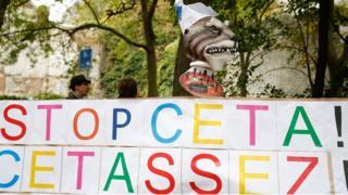 Anti-Ceta poster outside Walloon parliament in Namur - 21 October