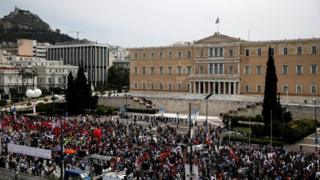 Protests in Greece ahead of tax vote