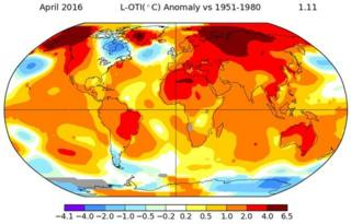 Nasa temperature map, April 2016