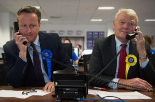 David Cameron helping to campaign for a 'Remain' vote in the EU referendum at a phone centre in London along with fellow pro EU campaigner Lord Ashdown