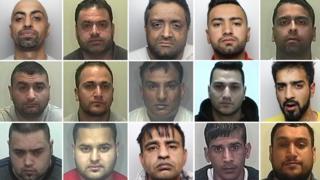 The men jailed are: (top l to r) Hedar Ali, Haider Ali, Khalid Zaman, Mansoor Akhtar, Sikander Ishaq (middle l to r) Mohammed Ramzan, Haaris Ahmed, Tahir Mahmood, Taukeer Butt, Amaar Ali Ditta (bottom l to r) Talib Saddiq, Azeem Subhani, Mohammed Ali Ahmed, Aftab Hussain, Sikander Malik