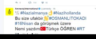 Post in Turkish on Amnesty International's Twitter account