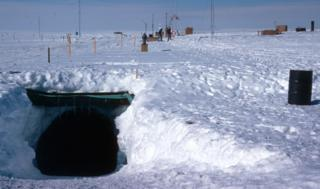 Garage entrance to Halley III in Antarctica