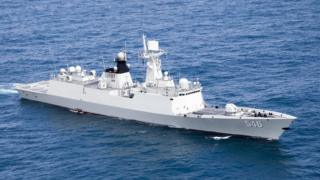 Chinese missile frigate, the Yancheng, sailing in a undisclosed location in undated photo