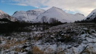 The site in Glen Coe where the turf building was found