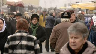 Shoppers at the market in Hayange, France