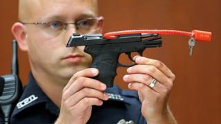 George Zimmerman's gun is displayed at his trial