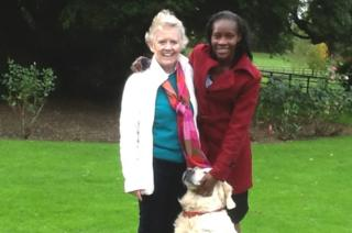 Joyce Aruga and Judy Webb in the grounds of the former Rossholme school after the 100 Women conference in 2013