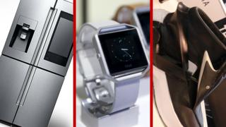 Collection of smart devices: fridge, watch and shoe