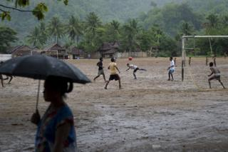 A game of football in Mae La