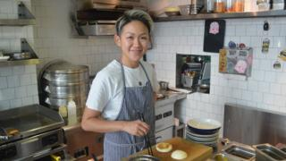 May Chow in her kitchen