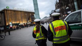 German police on duty at Cologne central railway station in Cologne, Germany 10 January 2016