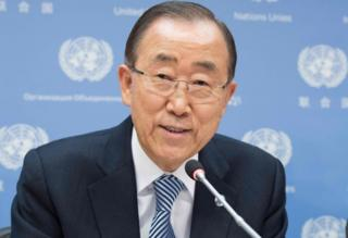 UN Secretary-General Ban Ki-moon pictured during a press conference, his last at United Nations headquarters, as his term of office draws to a close at the end of the year on December 16, 2016 in New York.