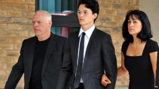 David and Charlie Gilmour and Polly Samson