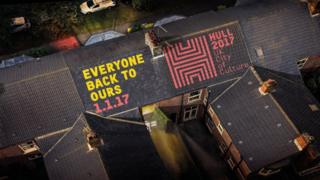 Hull 2017 slogan on rooftops