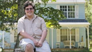 Gavin Grimm poses in front of his home in Gloucester, Virginia
