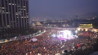 A demonstration in central Seoul outside the Blue House, the President's official residence
