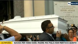 Screen Grab of Rai News24, of Tiziana's coffin being carried out of church, 15 September 2016