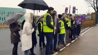 Teachers' picket line in Clydebank
