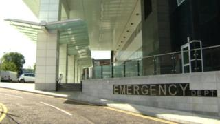 The entrance to the Royal Victoria Hospital's new emergency department
