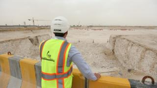 Construction progress at Al Rayyan Stadium, one of the venues for the 2022 FIFA World Cup Qatar on March 18, 2016 in Doha, Qatar