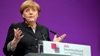 Angela Merkel talking in Cologne on 9 January
