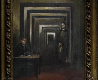The Hitler painting of two men in a corridor