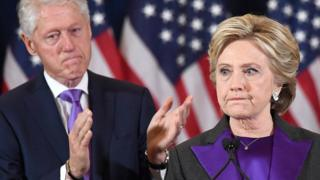 Hillary Clinton makes a concession speech after being defeated by Republican President-elect Donald Trump, as former President Bill Clinton looks on in New York - November 9, 2016