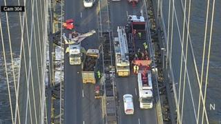 Overhead view of the Forth Road Bridge on Wednesday