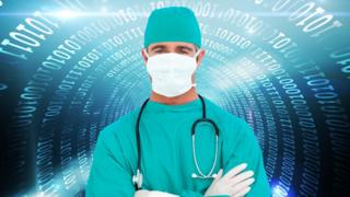 Surgeon surrounded by data