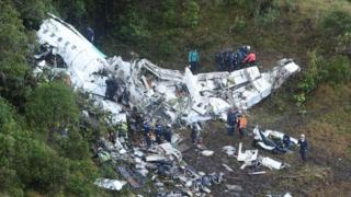 Investigators examine plane wreckage in Colombia