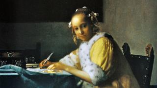 """Detail from """"A Lady Writing A Letter"""" by Johannes Vermeer"""